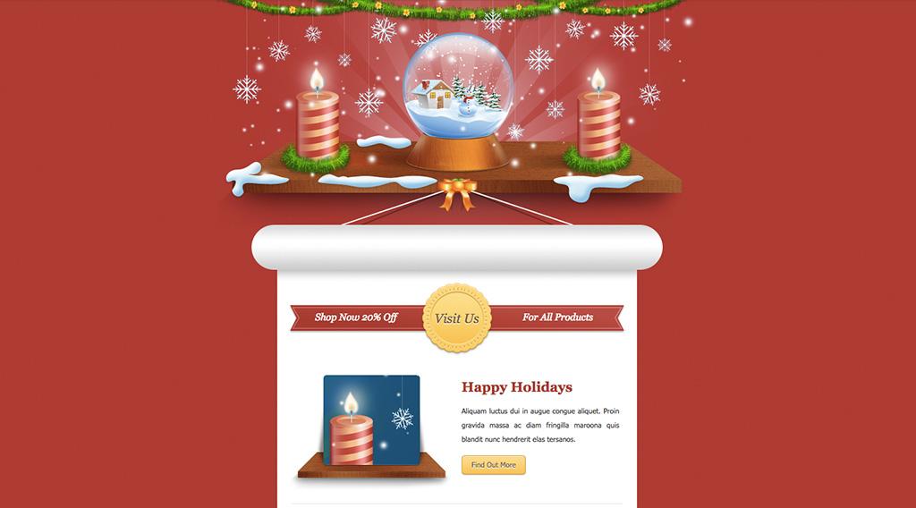 Шаблон новогодней открытки для рассылки