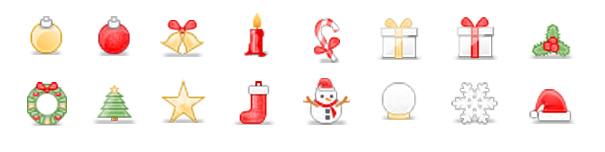 16 иконок размером 32×32 пикселя на новогоднюю тематику