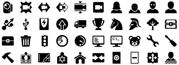 5054 иконки. Черные монохромные иконки на любую тематику размером 40×40 пикселей