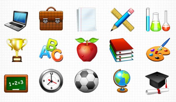 15 аккуратных иконок на образовательную тематику размером 128×128 пикселей
